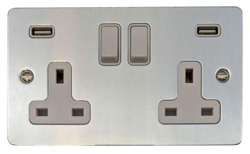 G&H FC910W Flat Plate Polished Chrome 2 Gang Double 13A Switched Plug Socket 2.1A USB